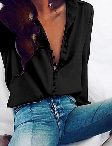 Women's Daily Basic Cotton Slim Shirt - Solid Colored Button V Neck Black