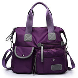 Women's Zipper Nylon Tote Black / Red / Purple