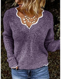 Women's Solid Colored Long Sleeve Pullover Sweater Jumper, V Neck Black / Purple / Blushing Pink S / M / L