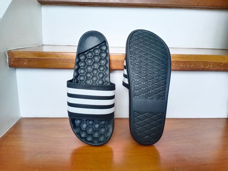 "Adidas Slides ""Black and White"""