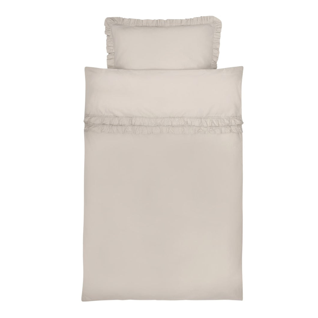 Bedding Oyster Grey Ruffle GOTS