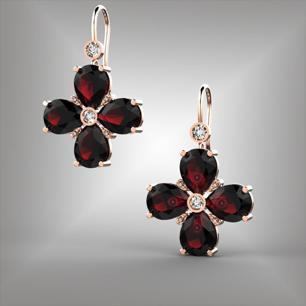 Rhodolite Garnet and Diamond Earrings