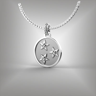 Nashville Tennessee 3 Star Diamond Pendant