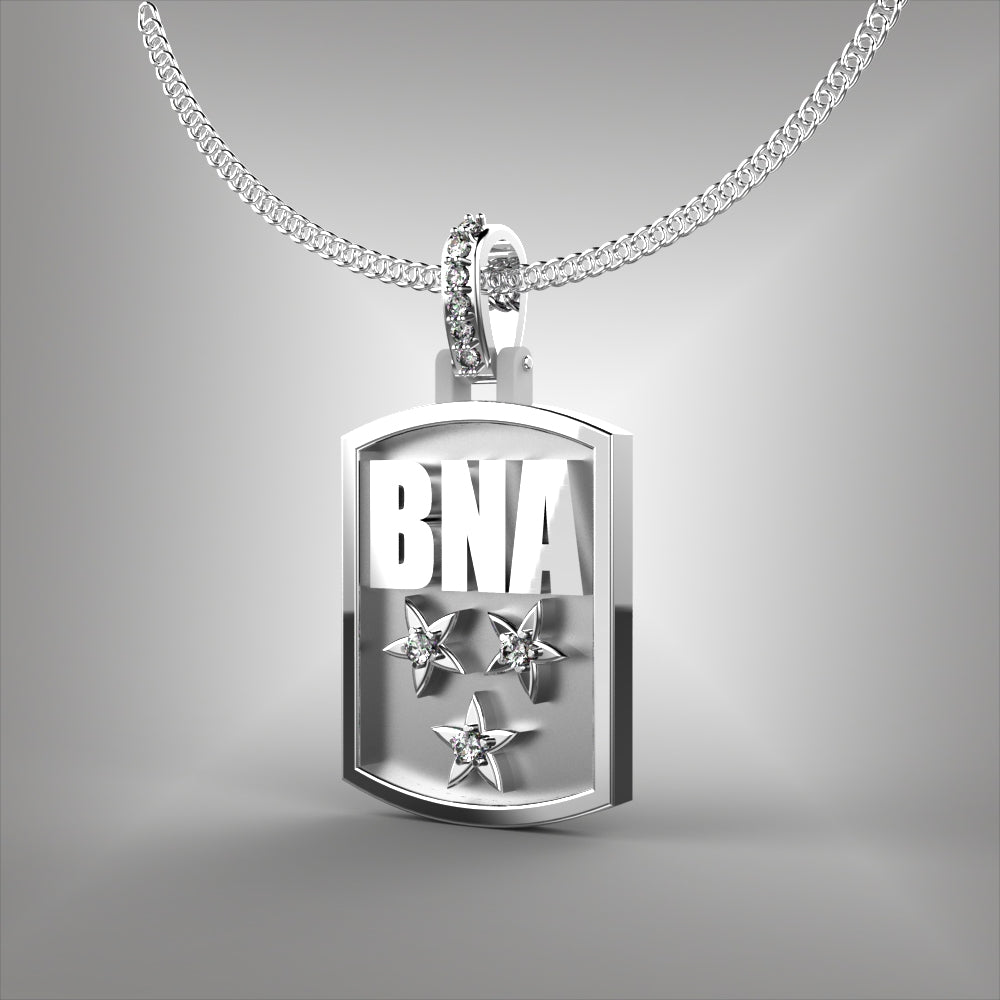 Nashville BNA Dog Tag Pendant with Diamonds