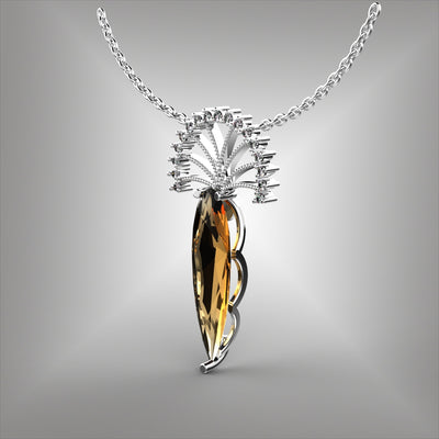 Imperial Topaz and Diamond Pendant