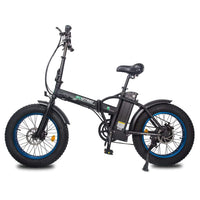 Ecotric 48V Fat Tire Portable and Folding Electric Bike with LCD display-Black and Blue