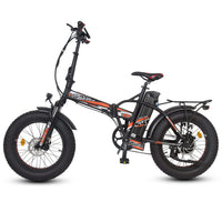 Ecotric 48V Fat Tire Portable and Folding Electric Bike with color LCD display-Black and Red