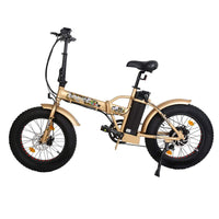 Ecotric 48V Gold portable and folding fat ebike with LCD display