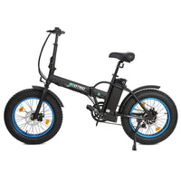 Ecotric 36V Fat Tire Portable and Folding Electric Bike-Matt Black and blue