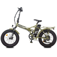 Ecotric Matt Green 48V Fat Tire Portable and Folding Electric Bike with color LCD display
