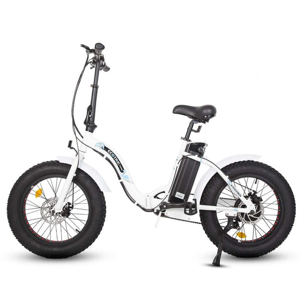 Ecotric white portable and folding fat bike model Dolphin