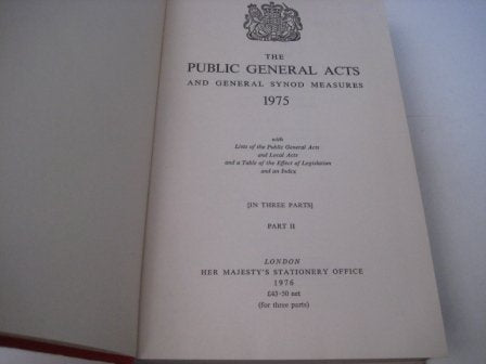 The Public General Acts and General Synod Measures 1975 Part 2