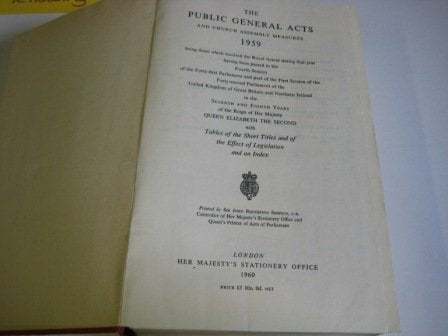 The Public General Acts and Church Assembly Measures 1959*^