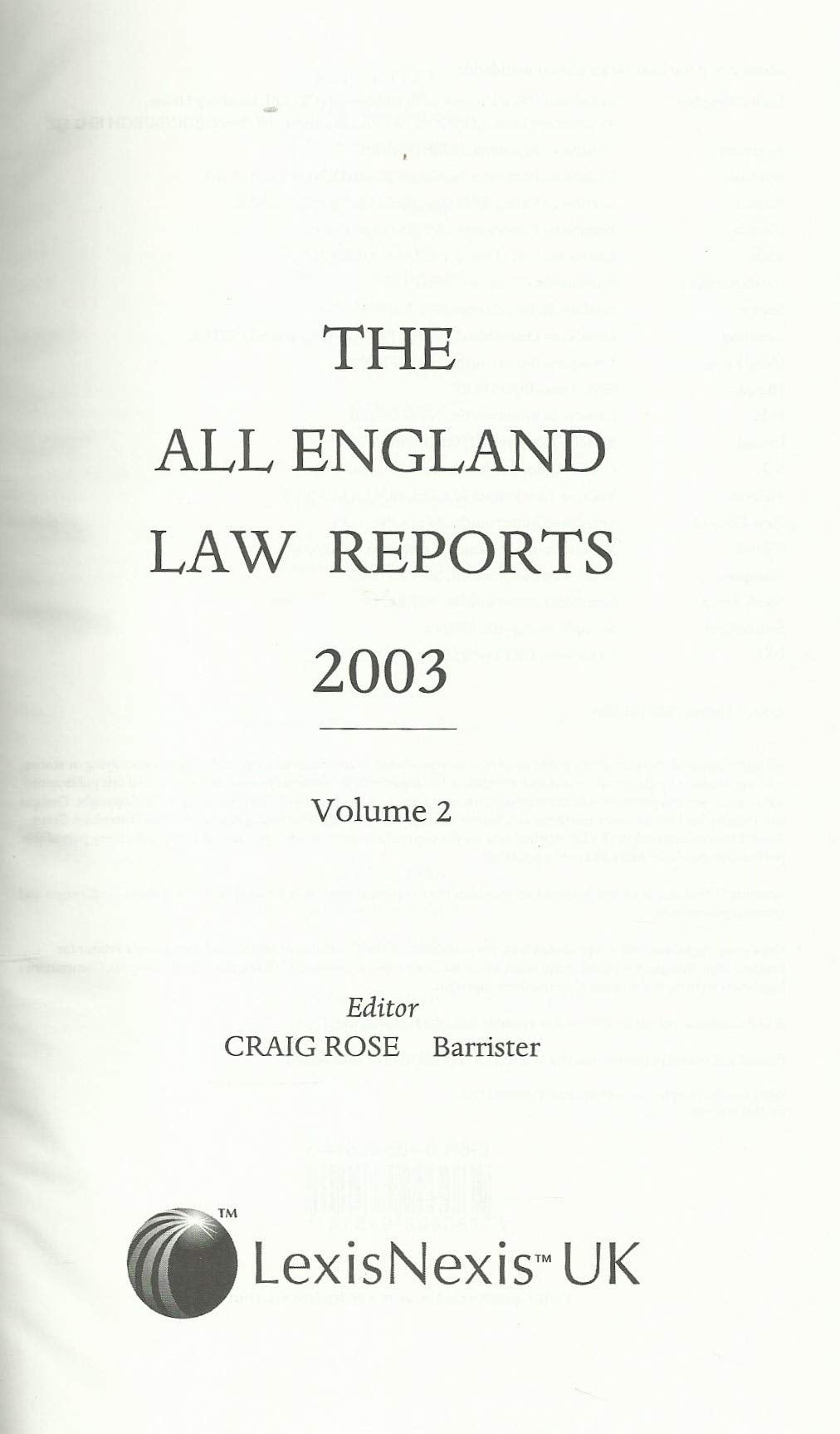 The All England Law Reports 2003: Vol 2