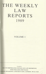 Weekly Law Reports 1989 Vol 1