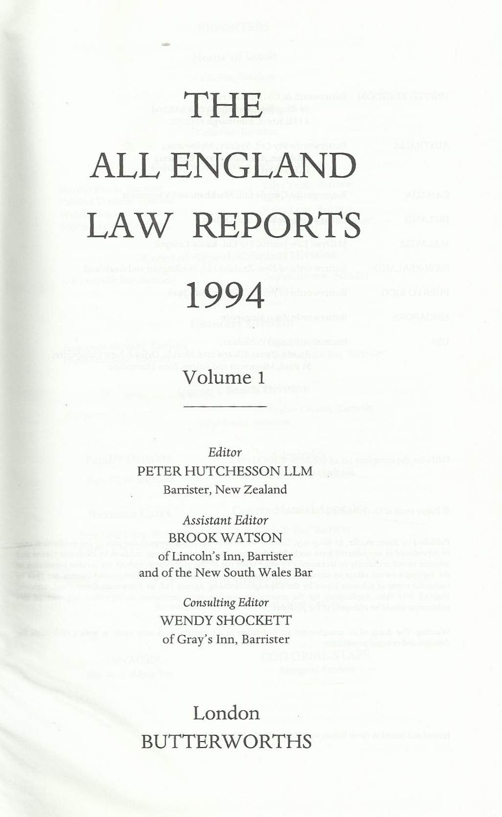 The All England Law Reports 1994, Volume 1