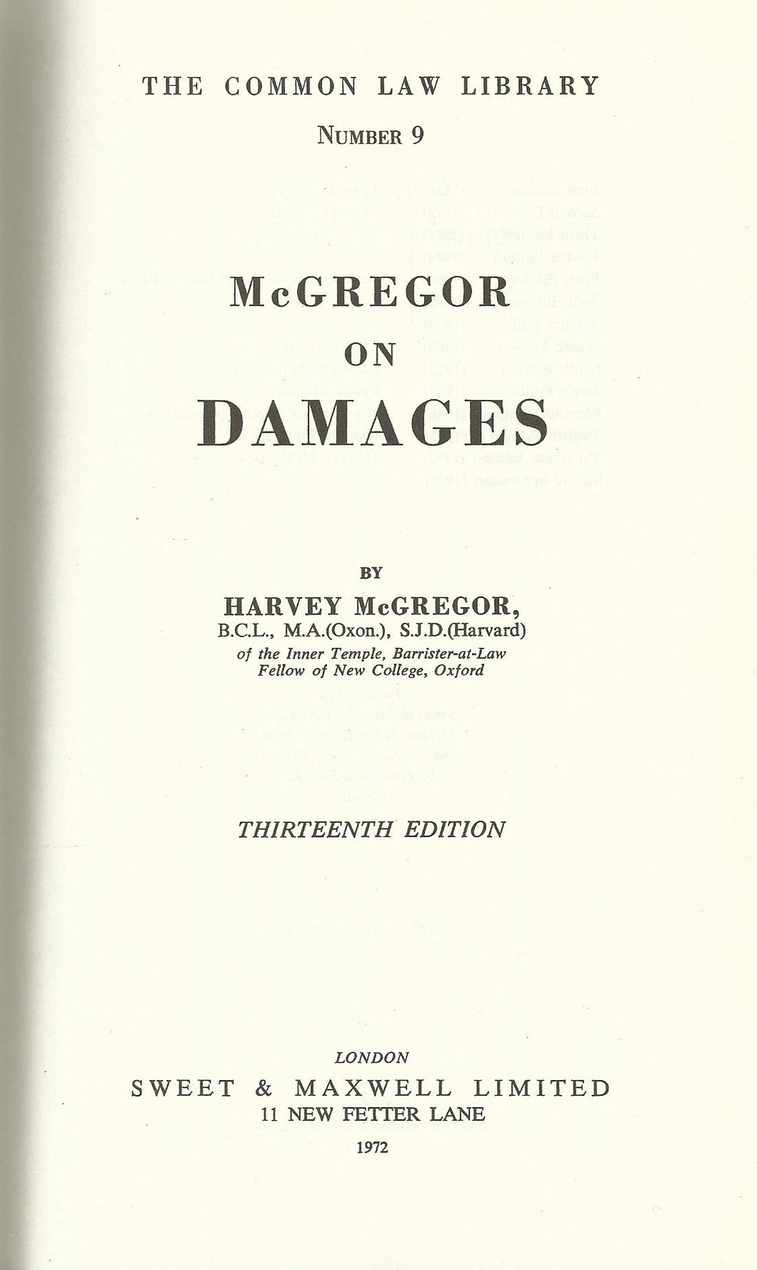 Law of Damages (Common Law Library S.)