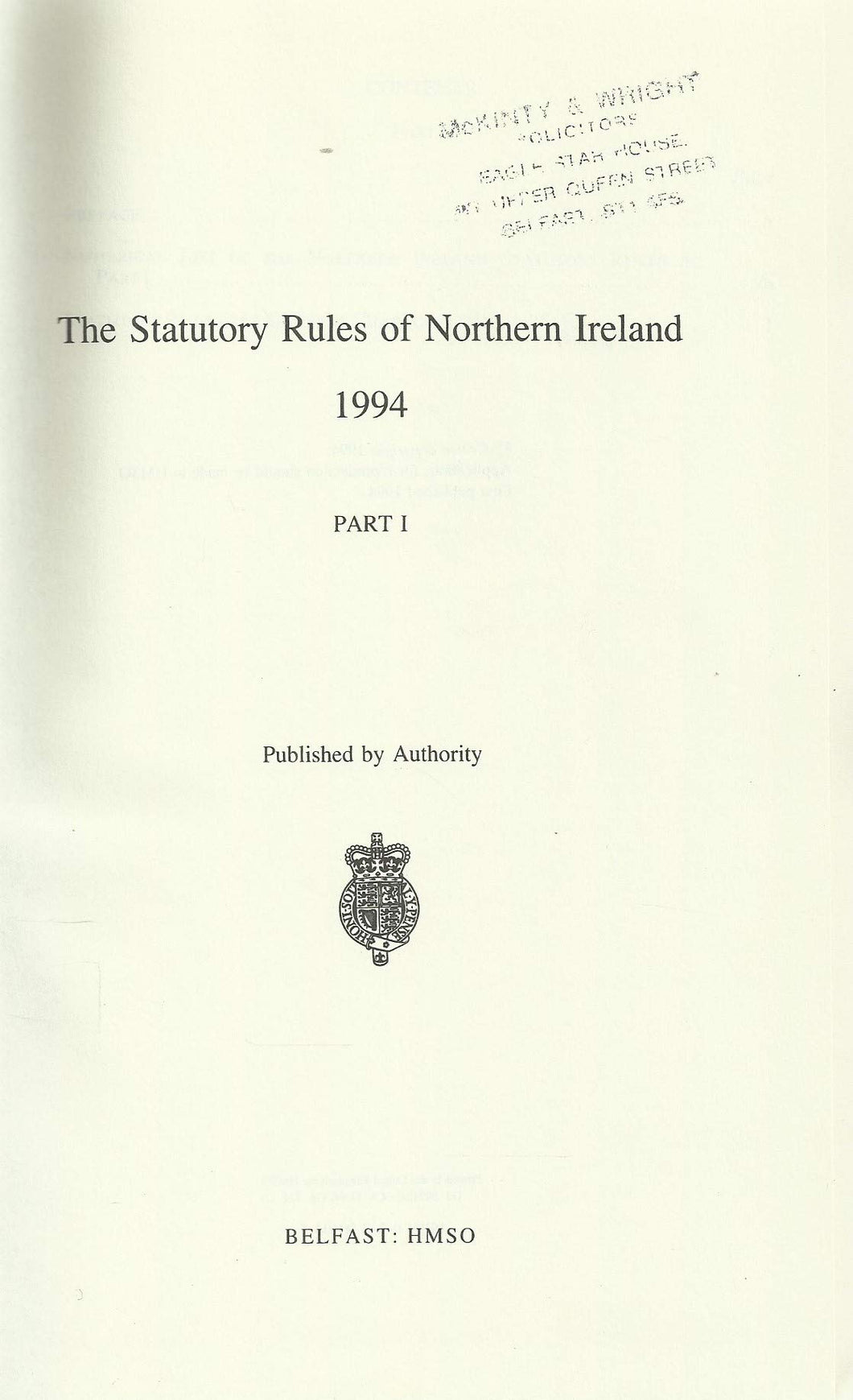 The Statutory Rules of Northern Ireland 1994