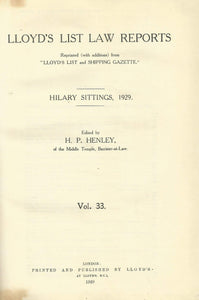 Lloyd's List Law Reports - Hilary Sittings, 1929, Vol 33
