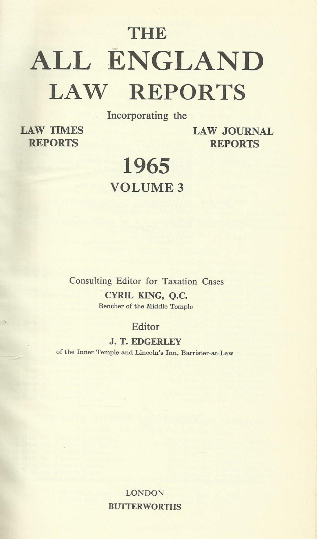 THE ALL ENGLAND LAW REPORTS: 1965, VOLUME III.
