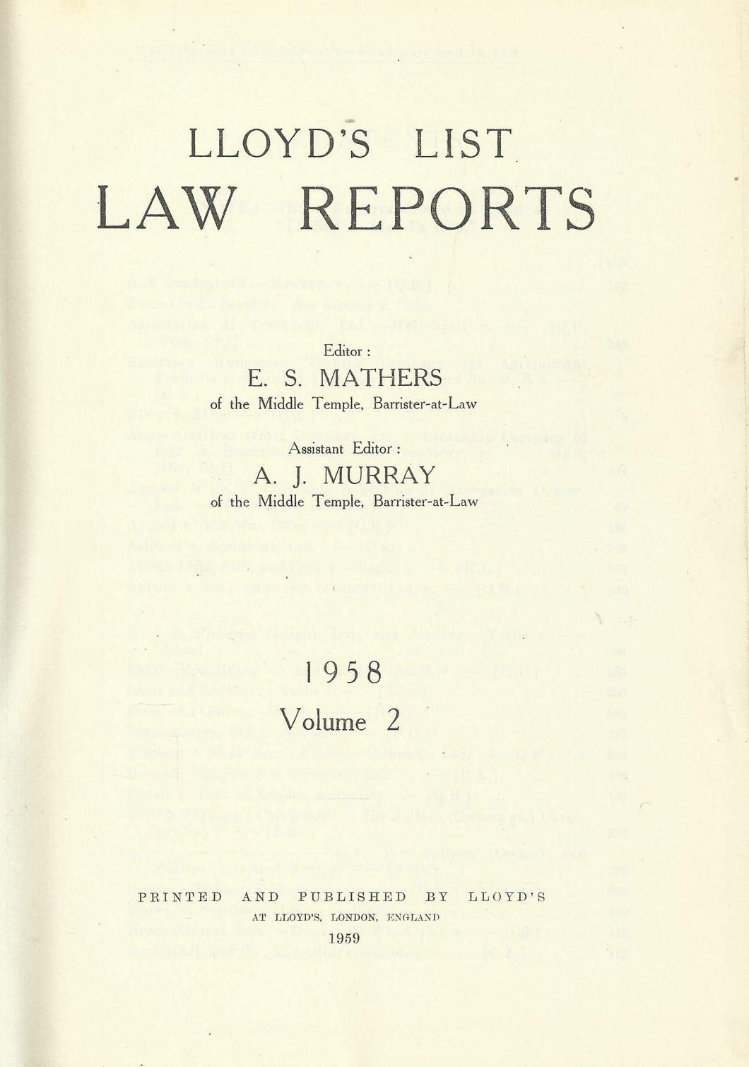Lloyd's List Law Reports - 1958, Volume 2