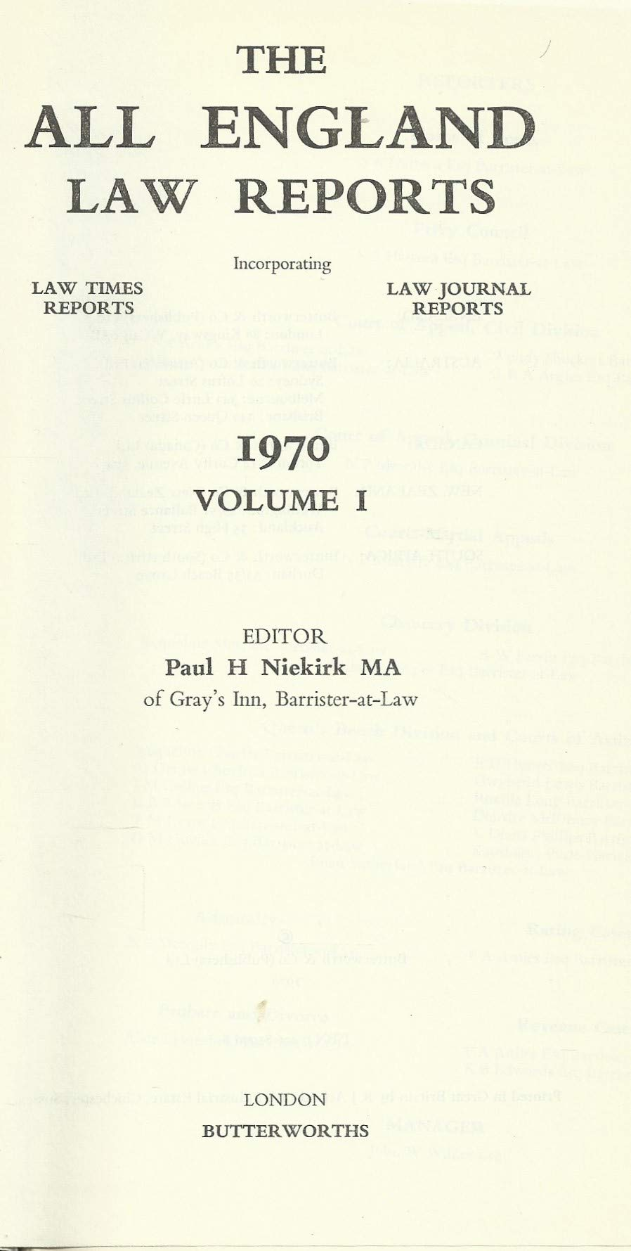 The All England Law Reports 1970 Volume 1