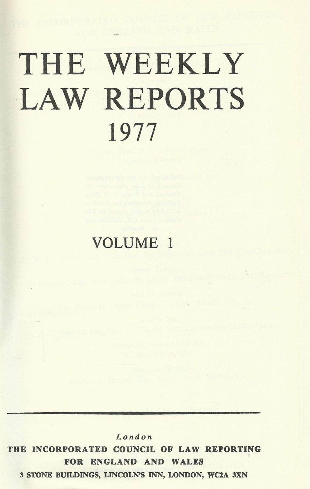 Weekly Law Reports 1977 Vol 1