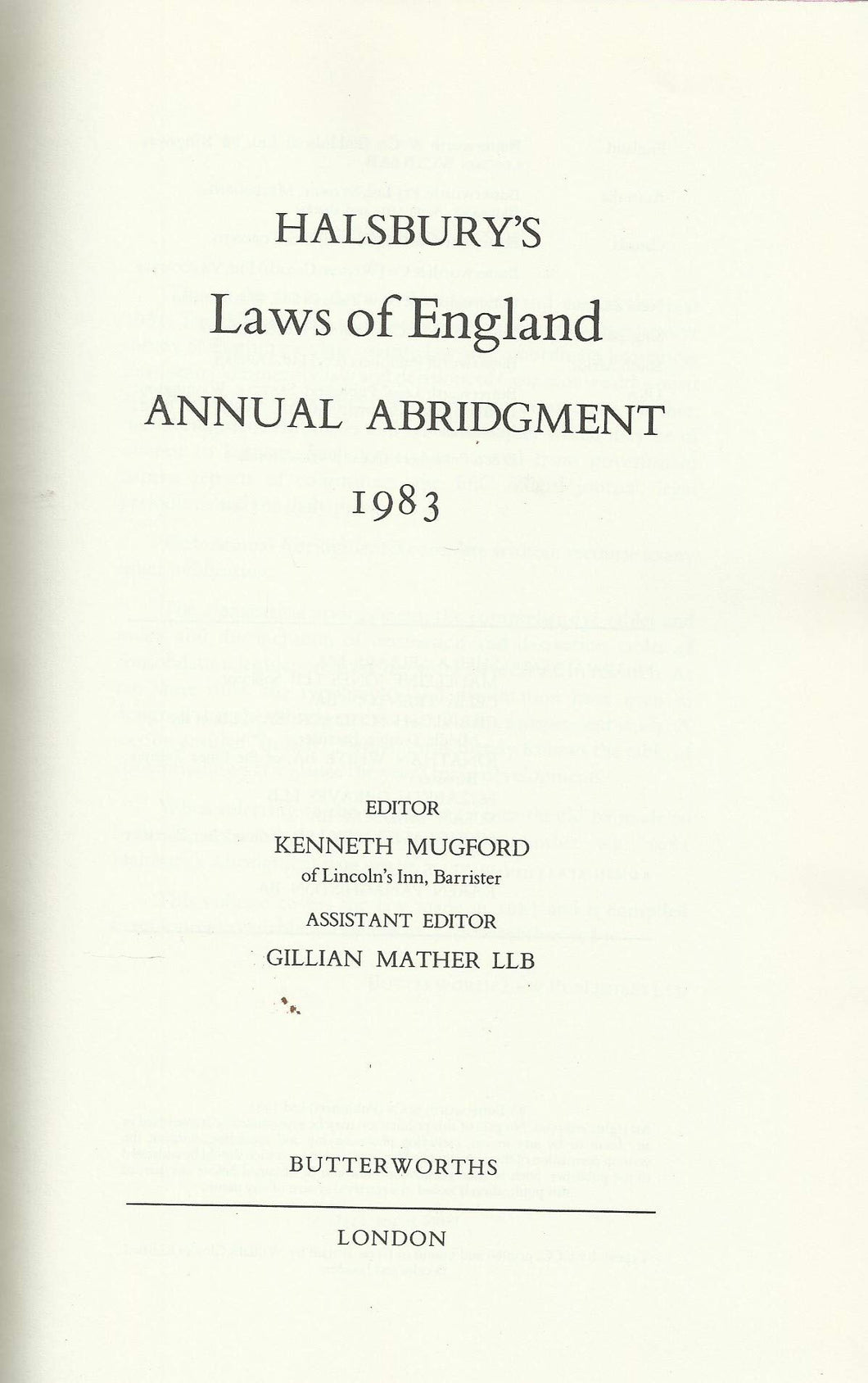 halsbury's laws of england annual abridgement 1983