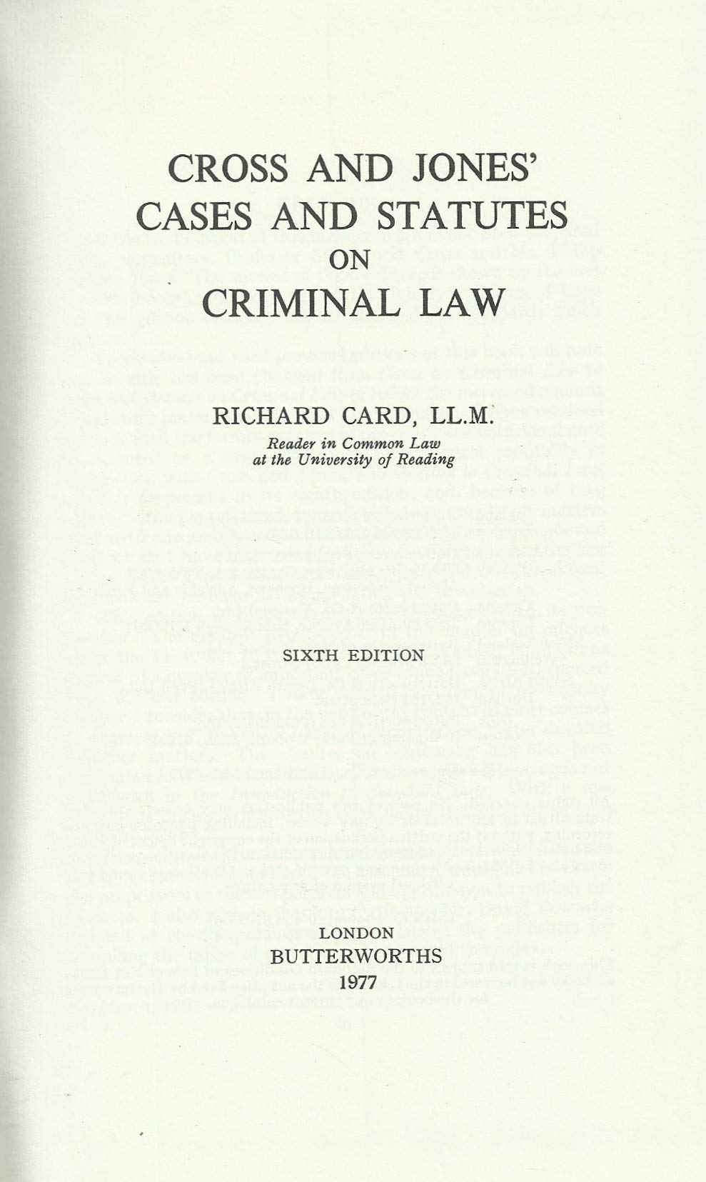 Cases and Statutes on Criminal Law