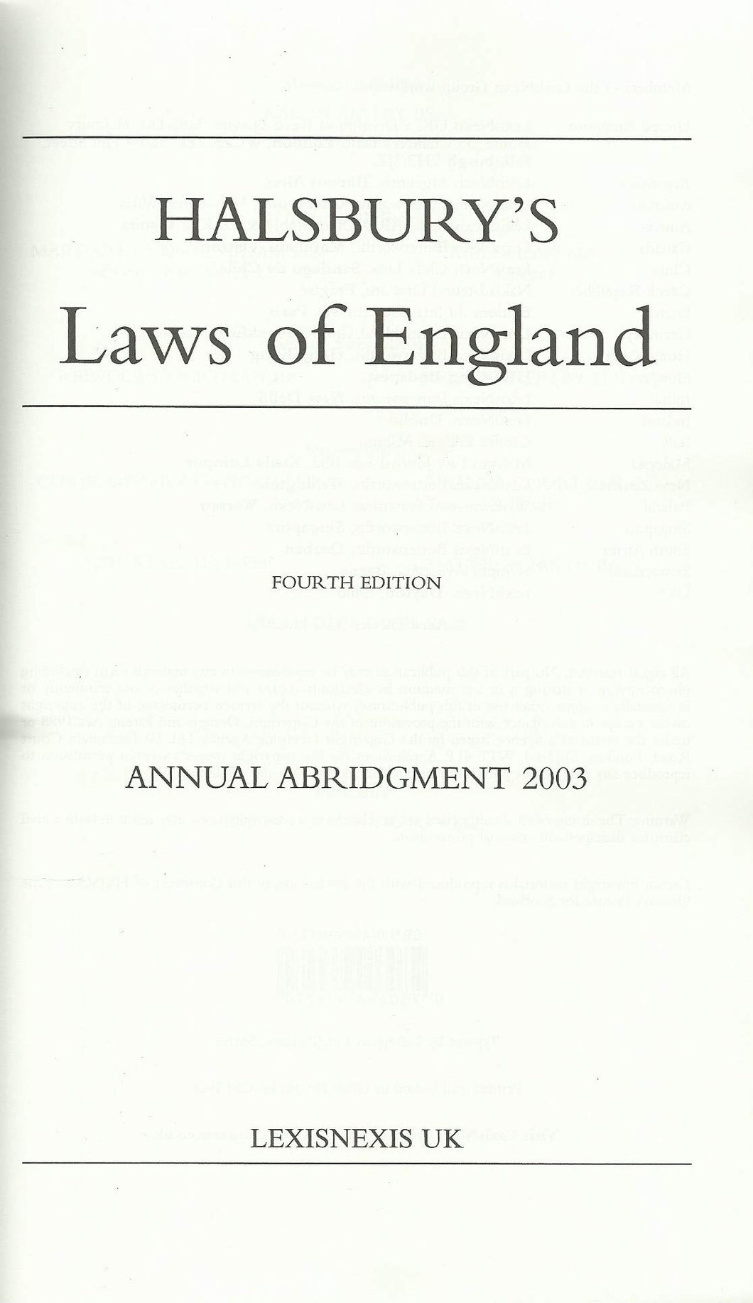 Halsbury's Laws of England Annual Abridgment 2003