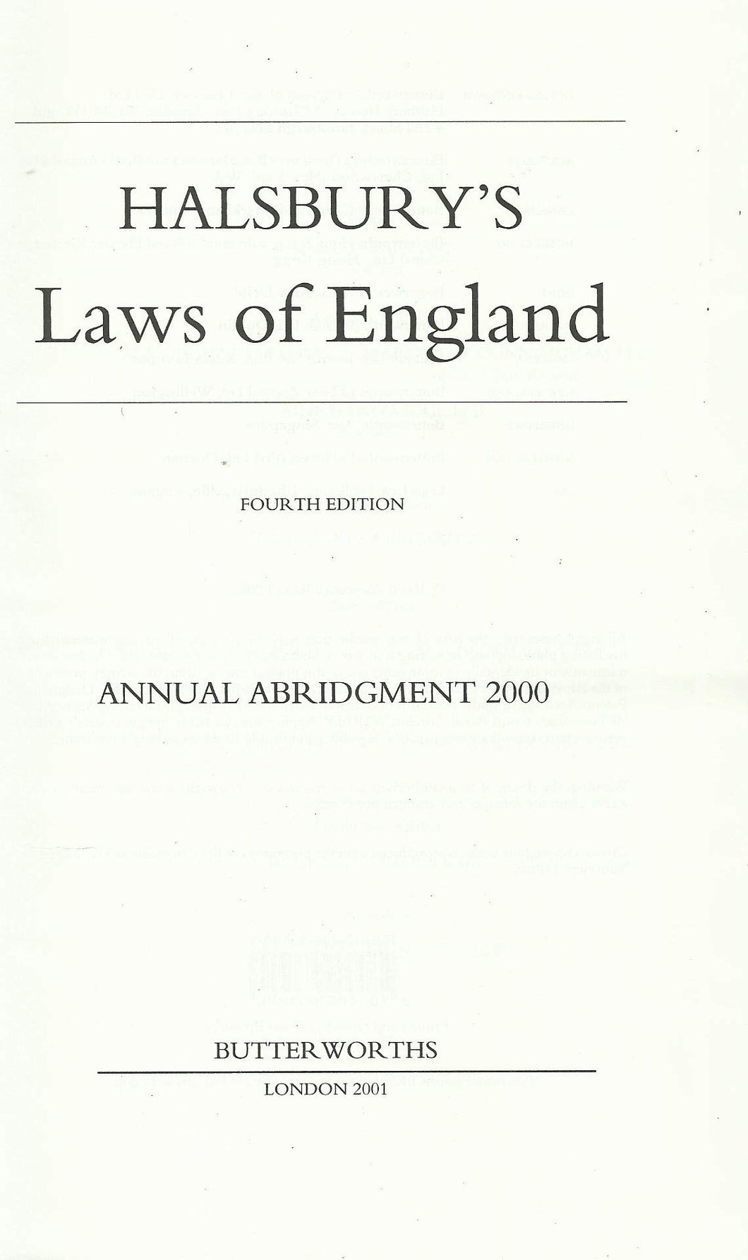 Halsbury's Laws of England Annual Abrigment 2000
