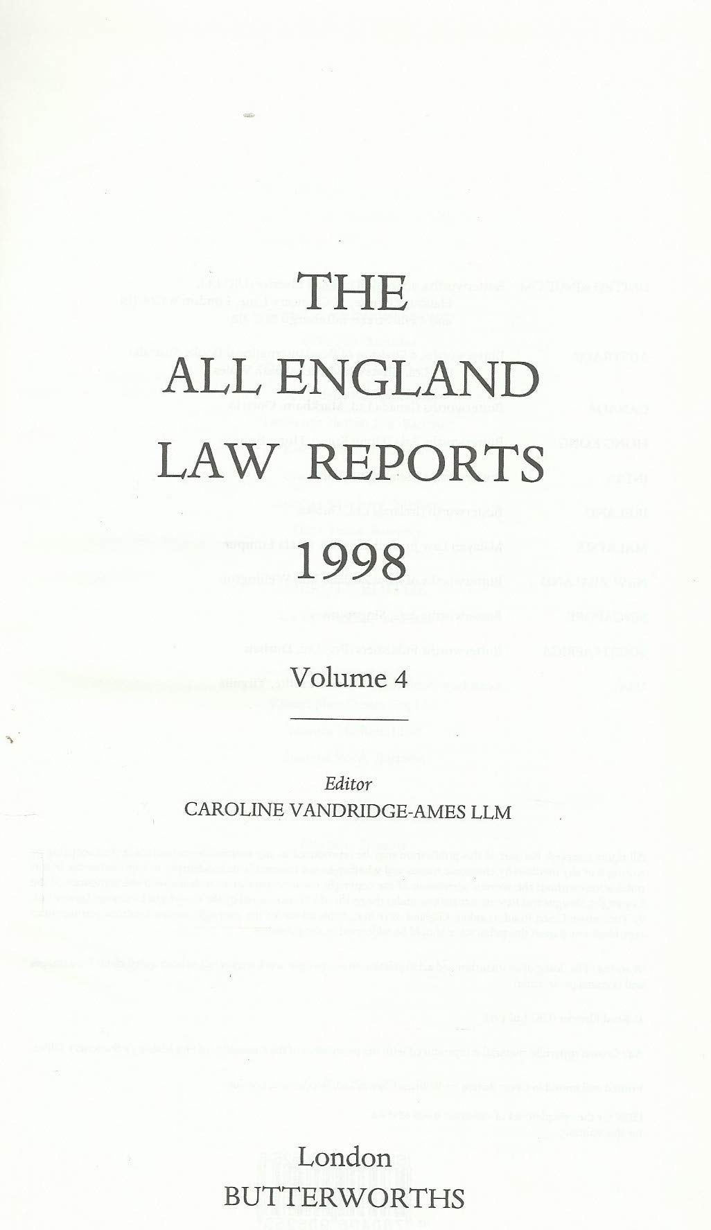 The All England Law Reports 1998: Vol 4
