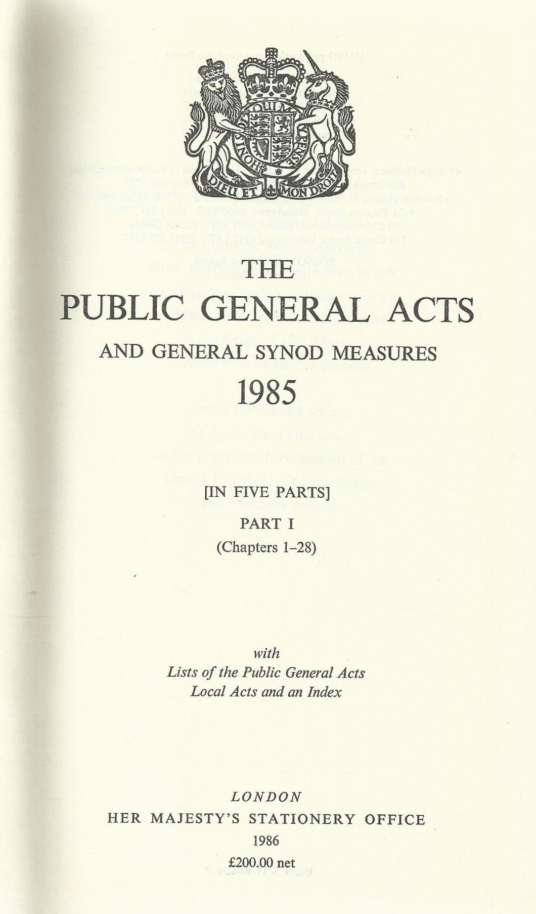 The Public General Acts and General Synod Measures 1985
