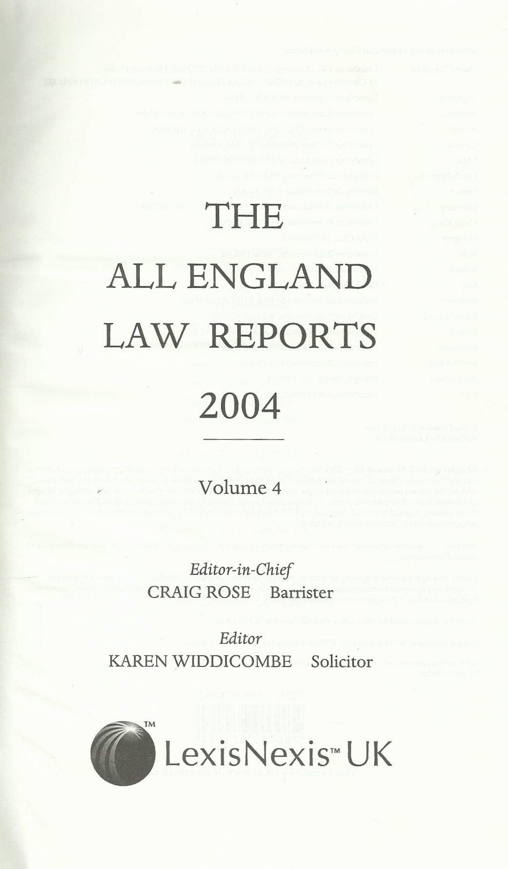 The All England Law Reports 2004, Volume 4