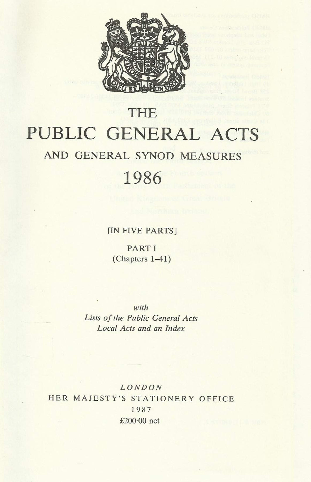 The Public General Acts and General Synod Measures 1986