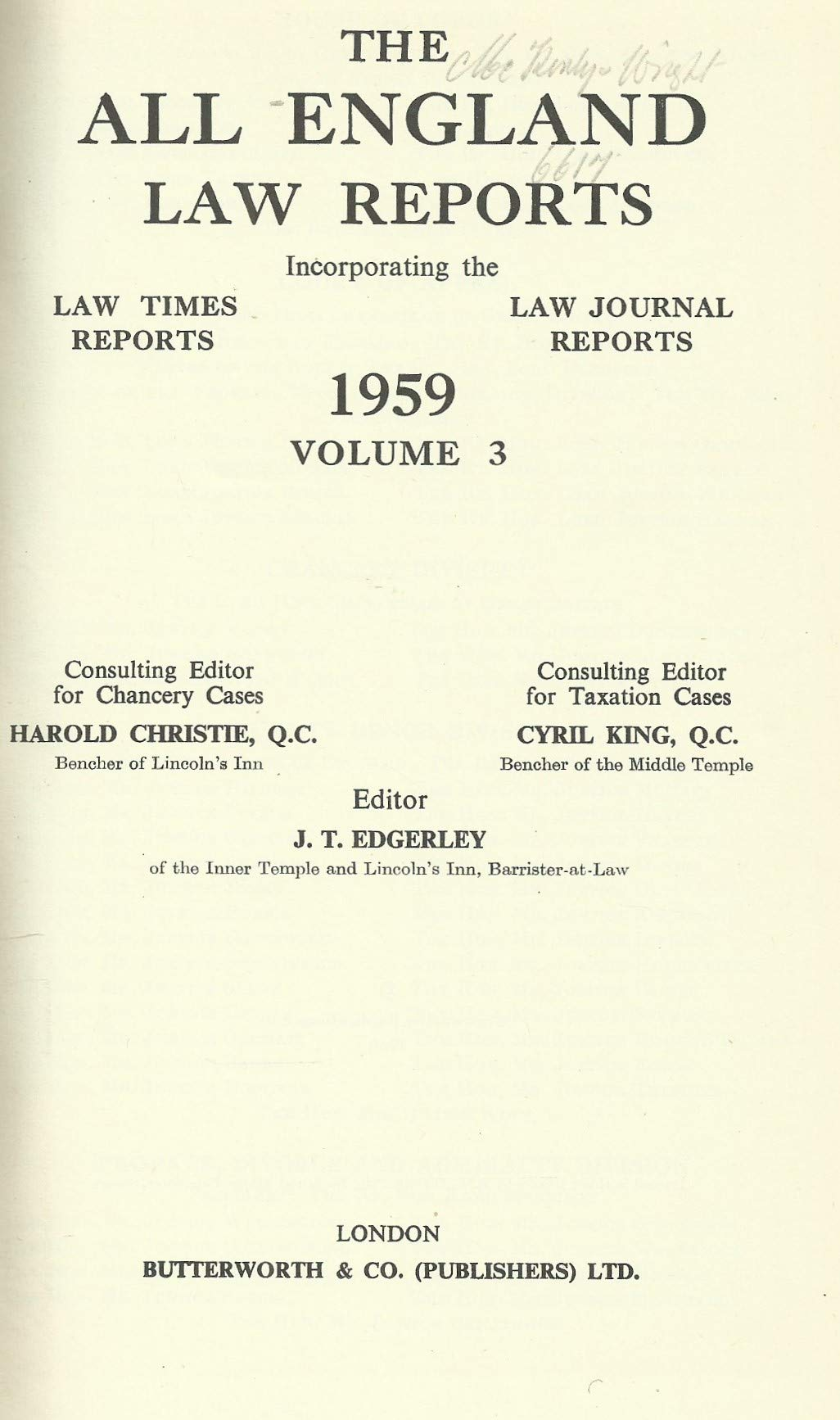 THE ALL ENGLAND LAW REPORTS, 1959: VOLUME 3.