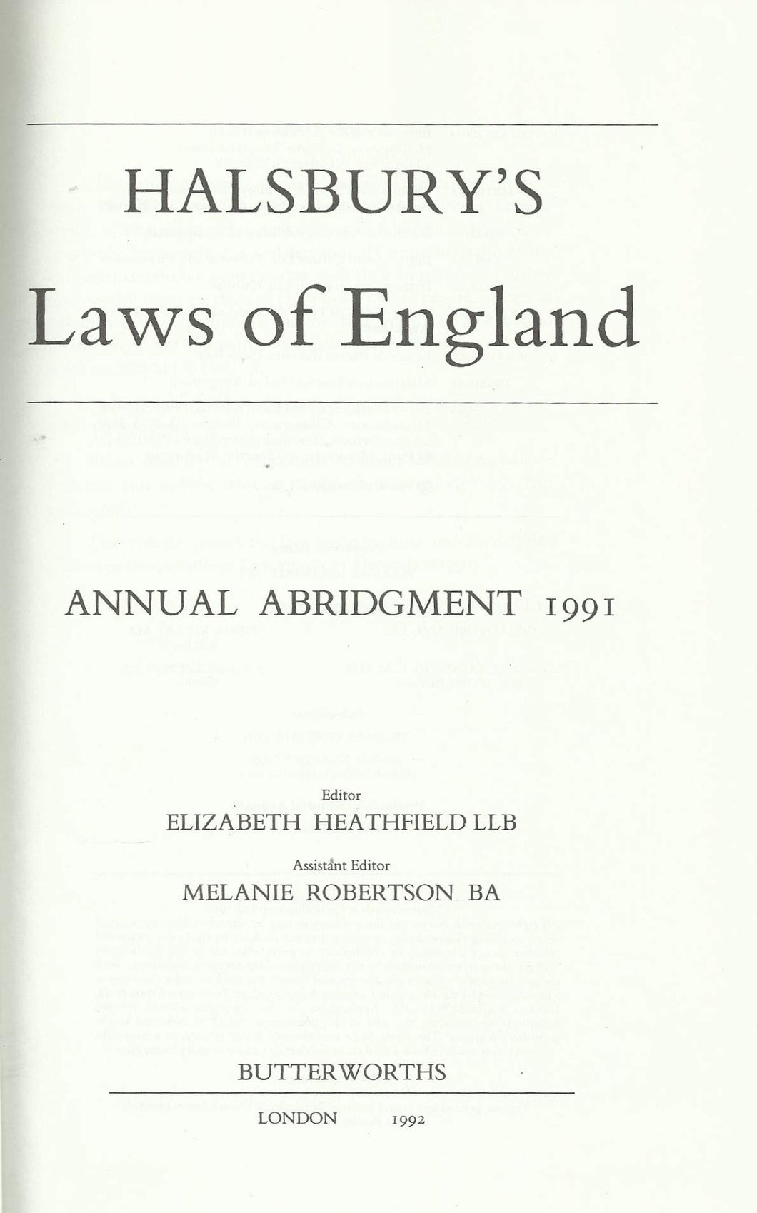 Halsbury's Laws of England Annual Abridgment 1991