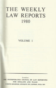 Weekly Law Reports 1980 Vol 1