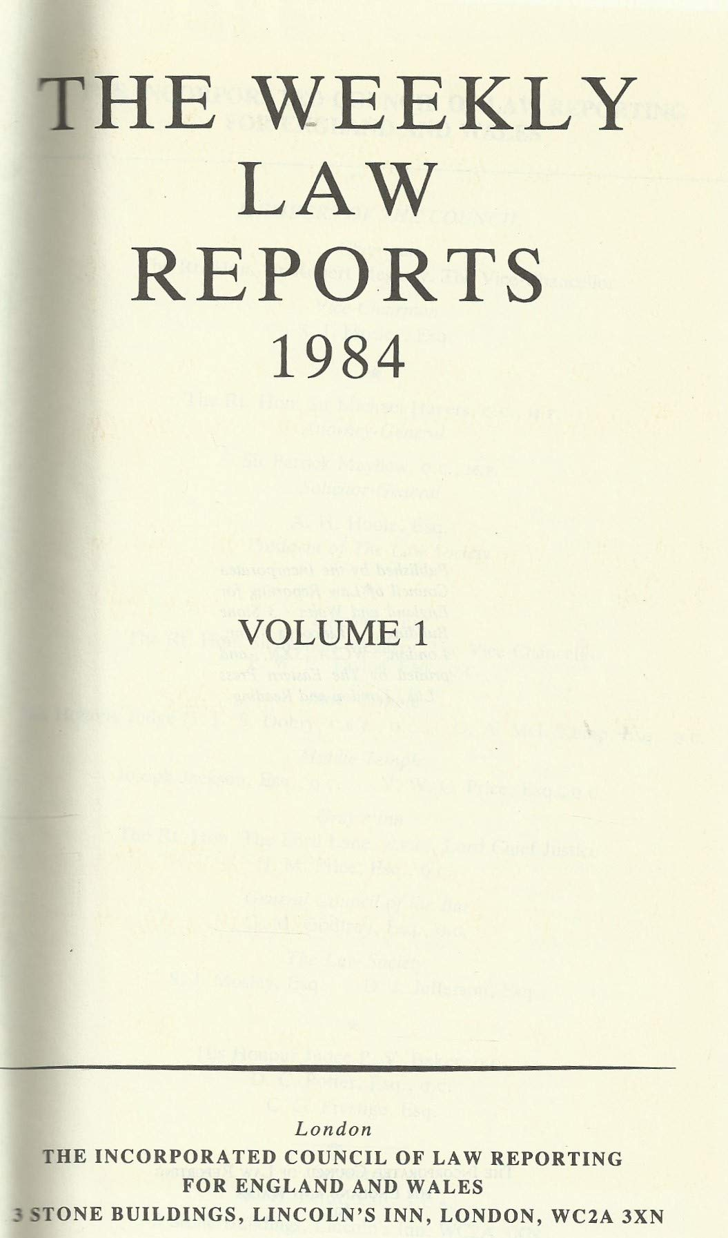 Weekly Law Reports 1984 Vol 1