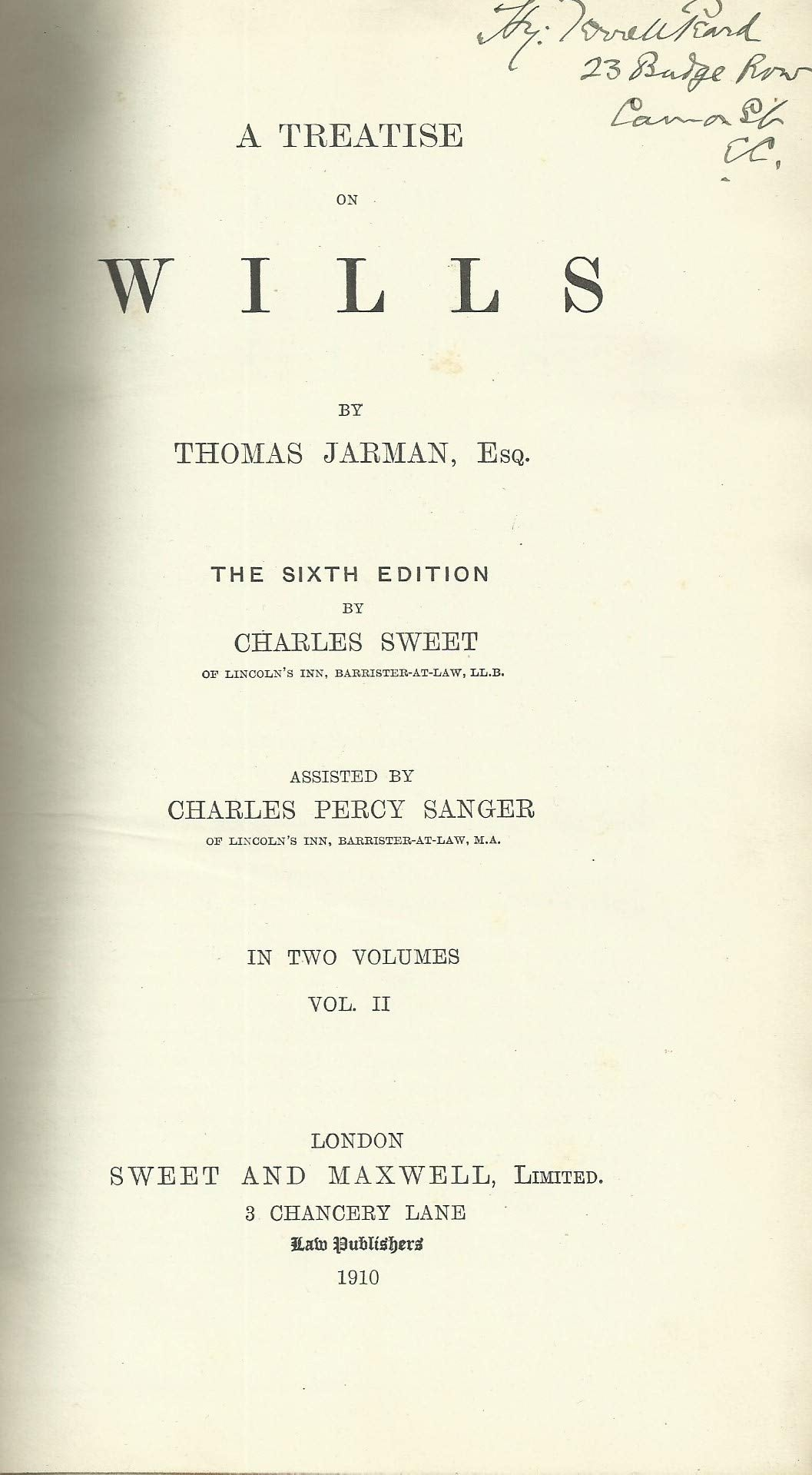 A Treatise on Wills (Jarman on Wills) - Sixth Edition, Volume II - 6th Edition, Volume 2