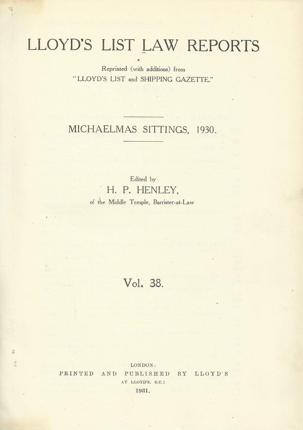 Lloyd's List Law Reports - Volume 38, Michaelmas Sittings, 1930