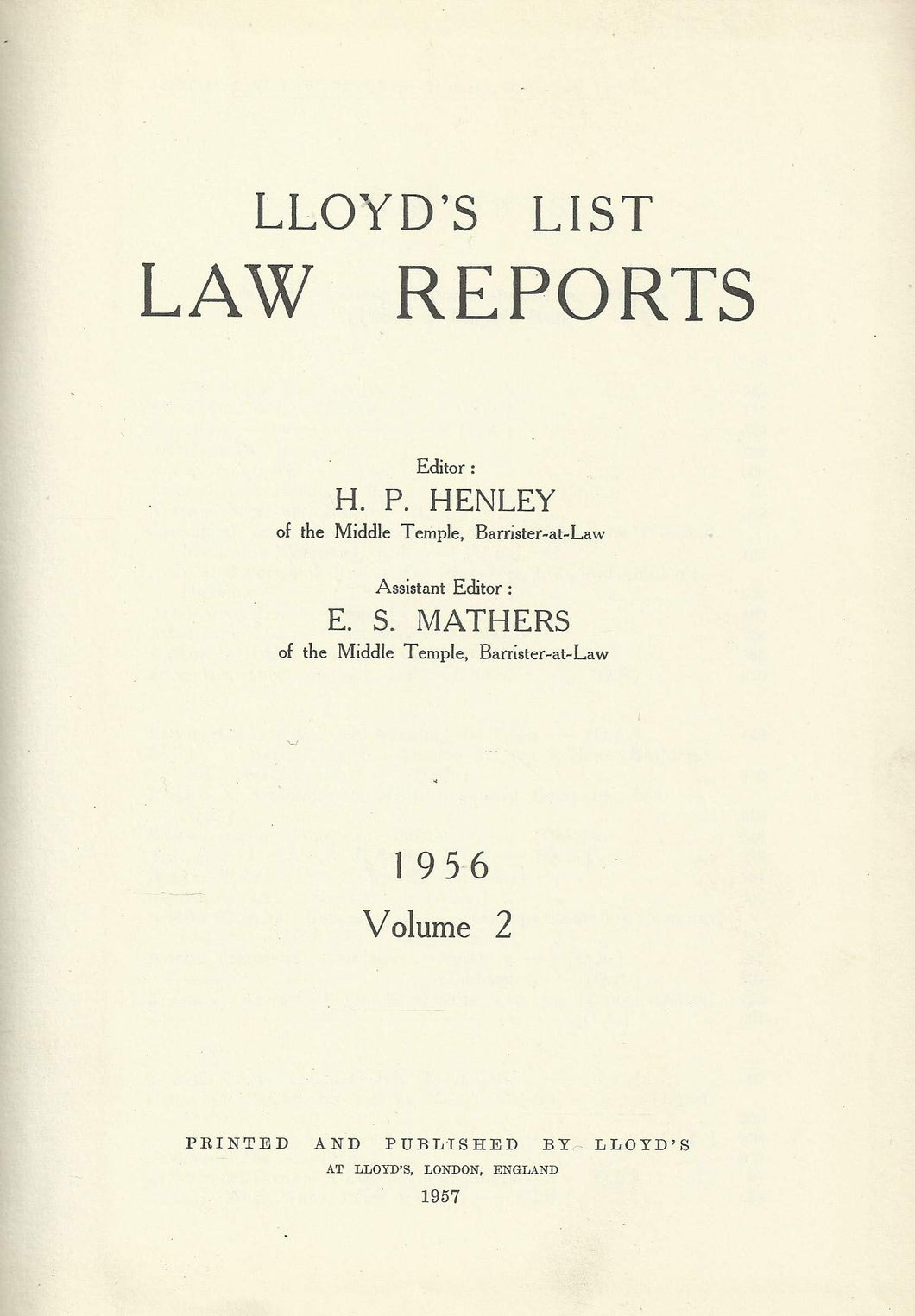 Lloyd's List Law Reports - 1956, Volume 2