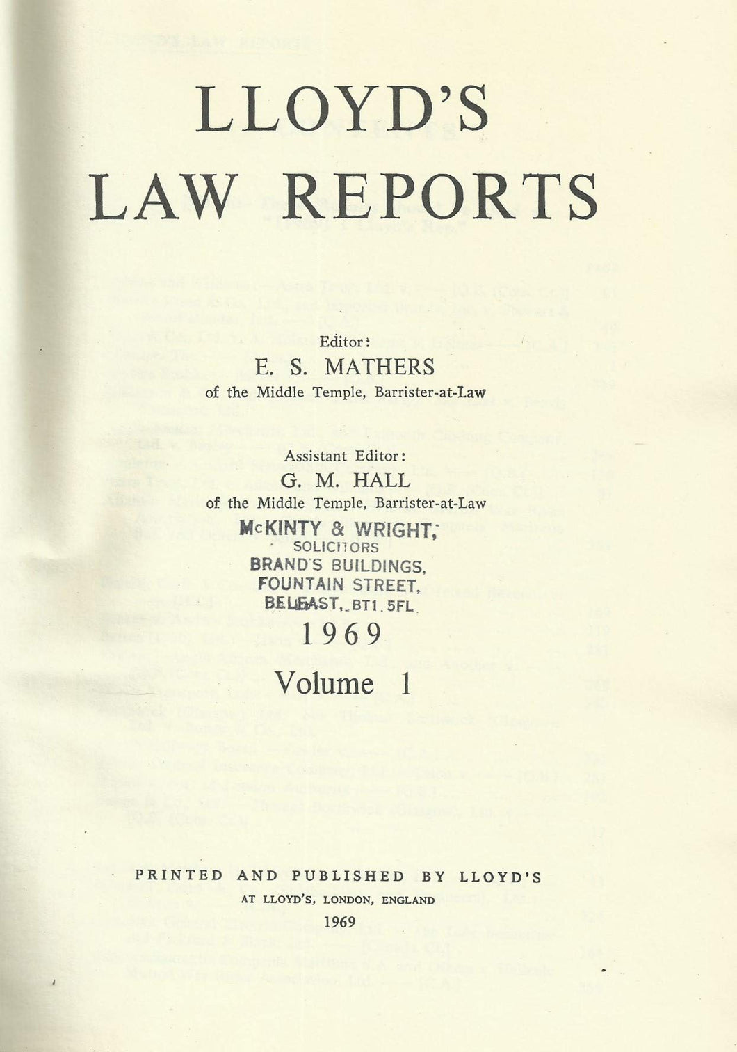 Lloyd's Law Reports - 1969, Volume 1 (Volume I)