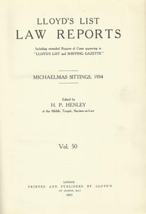 Lloyd's List Law Reports - Volume 50, Michaelmas Sittings, 1934
