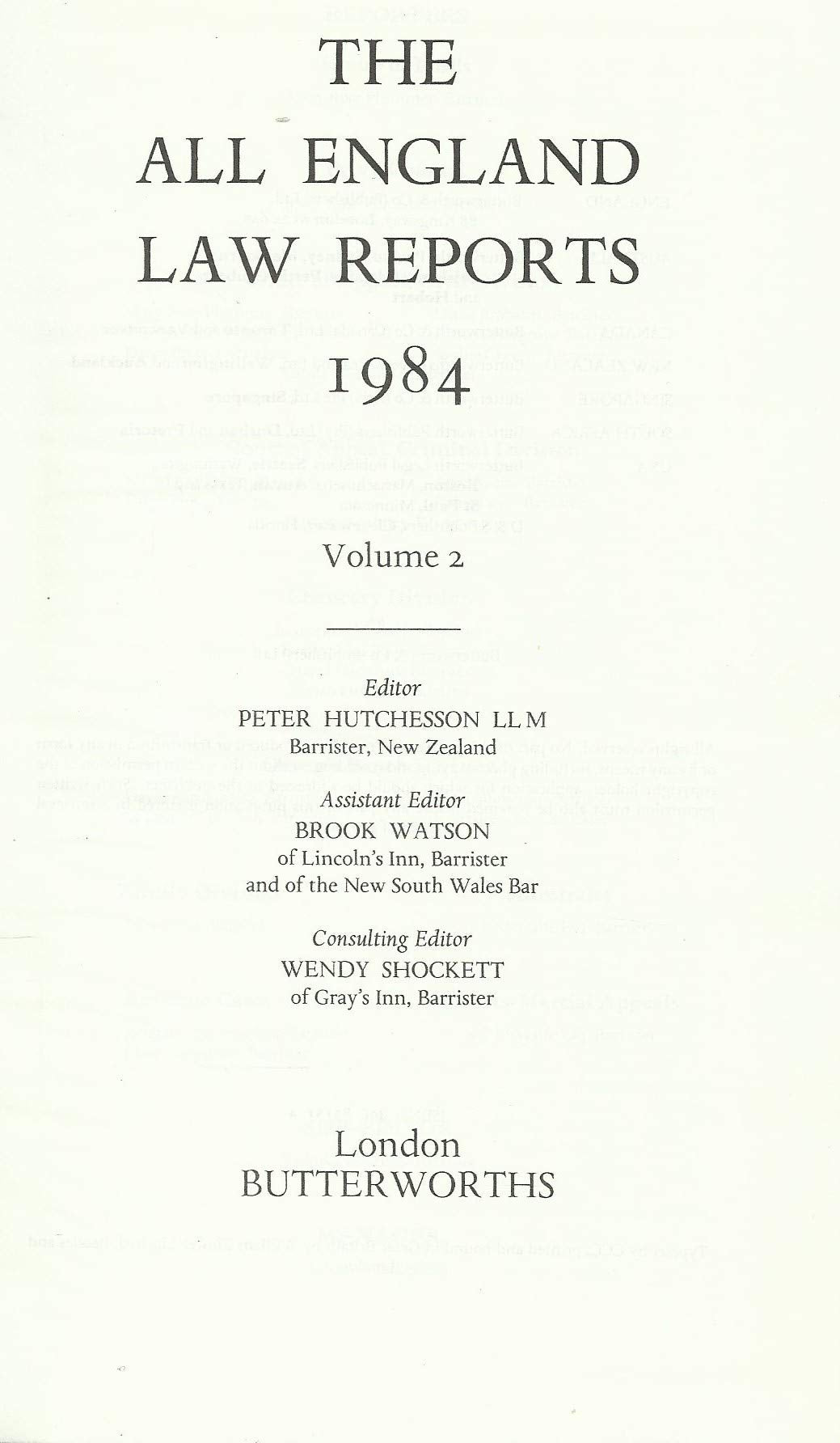 The All England Law Reports. 1984, Volume 2.