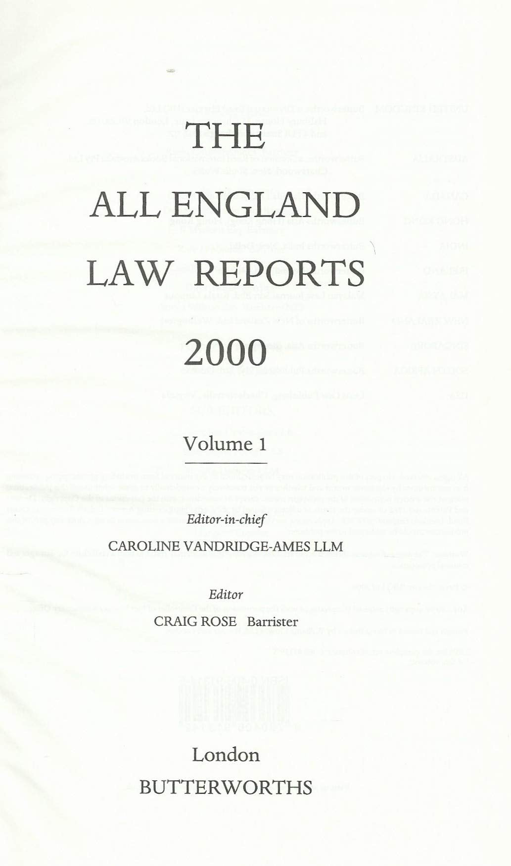 The All England Law Reports 2000: Vol 1
