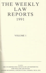 Weekly Law Reports 1991 Vol 1