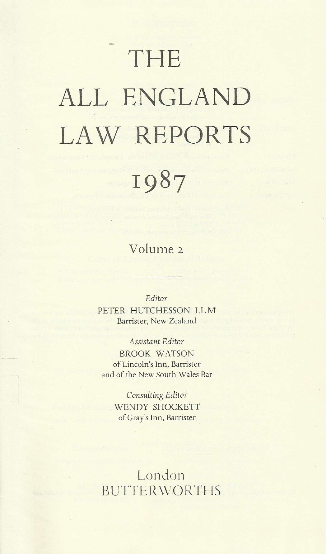 The All England Law Reports: 1987 Vol 2