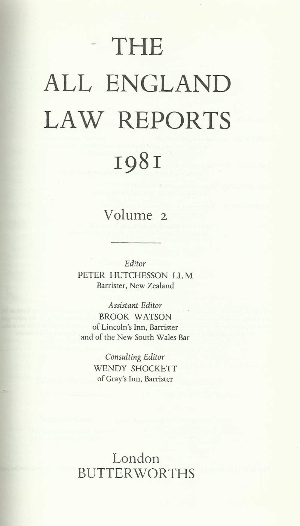 The All England Law Reports 1981: Volume 2