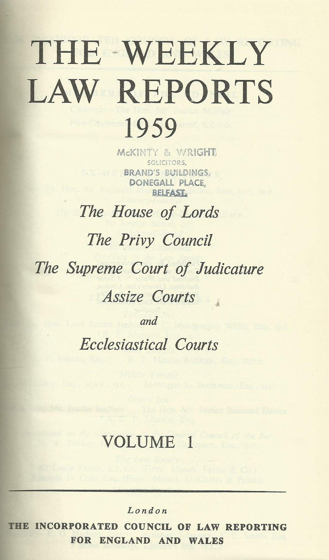The Weekly Law Reports 1959, Volume I
